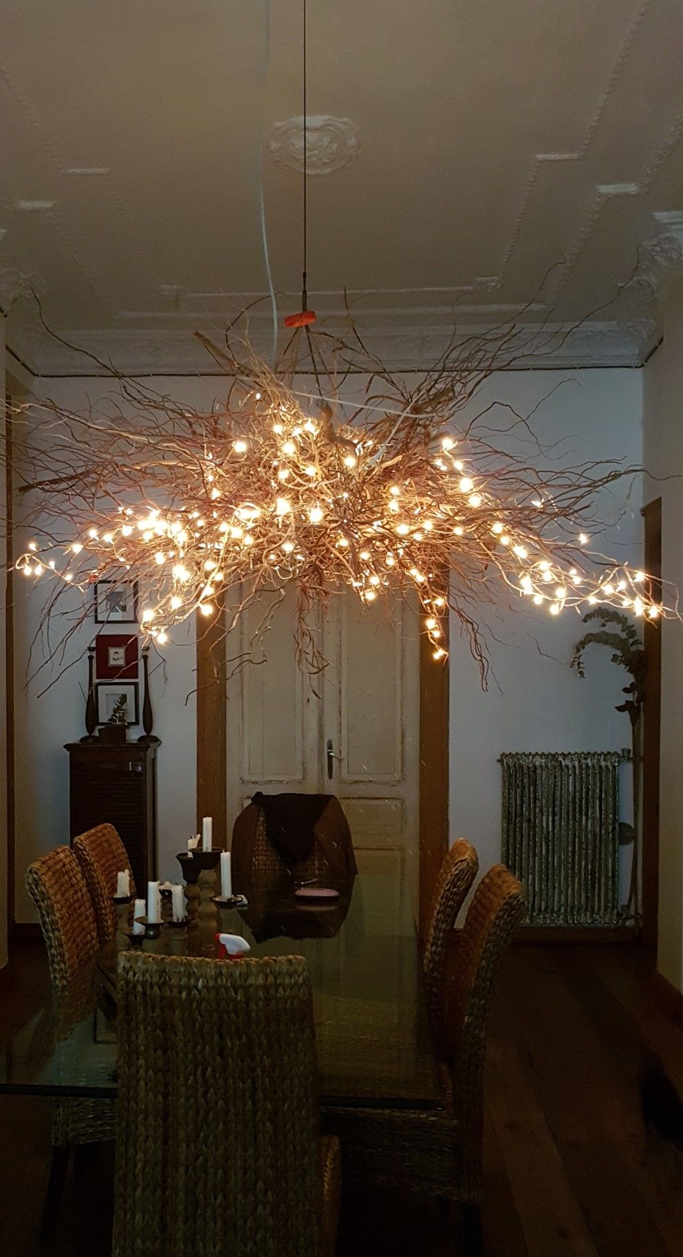 Tree Branch Chandelier With Fairy Lights With Images Fairy
