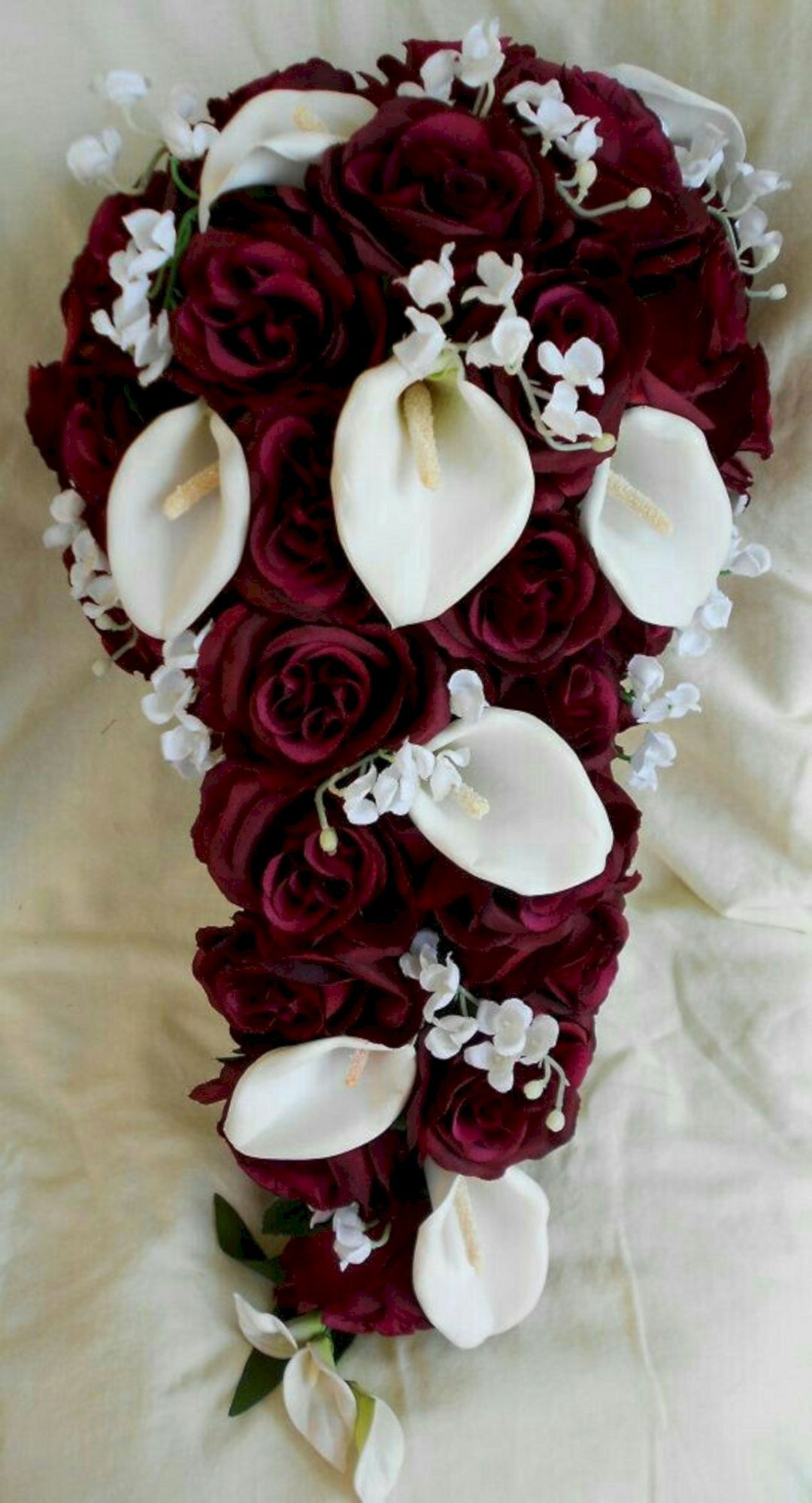 55 beautiful white flower arrangements in your wedding white silk cascade burgundy and white bridal bouquet roses calla lilies and lilies of the valley 2 pc i would want navy roses instead mightylinksfo Choice Image