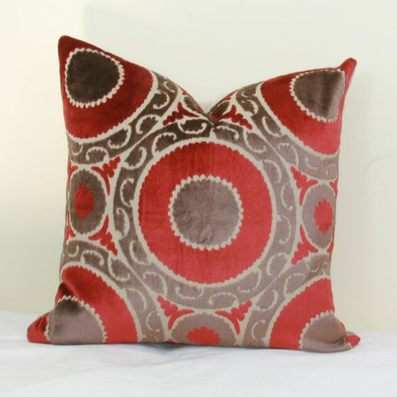 Red brown velvet pillow covers 18x18 20x20 pillow cover 24x24 pillow cover 26x26…