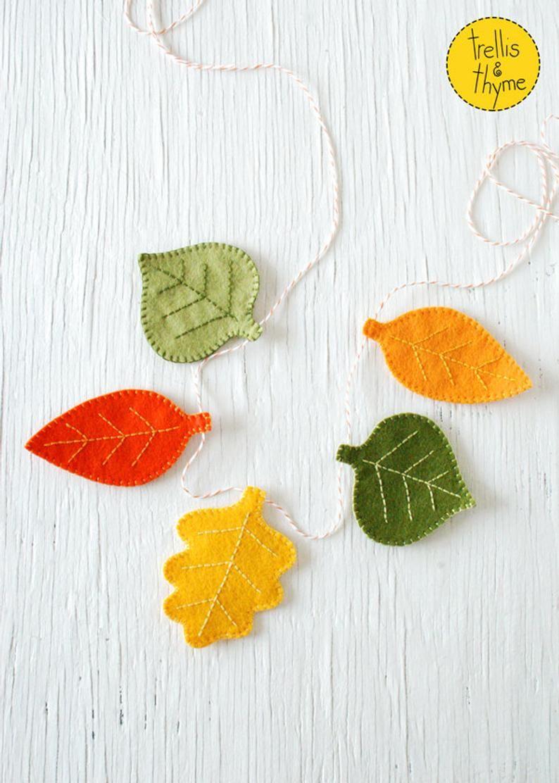 Pdf Pattern Autumn Leaves Felt Garland Pattern Halloween Thanksgiving Felt Embroidery Garland Pattern Felt Garland Fall Felt Crafts Felt Embroidery