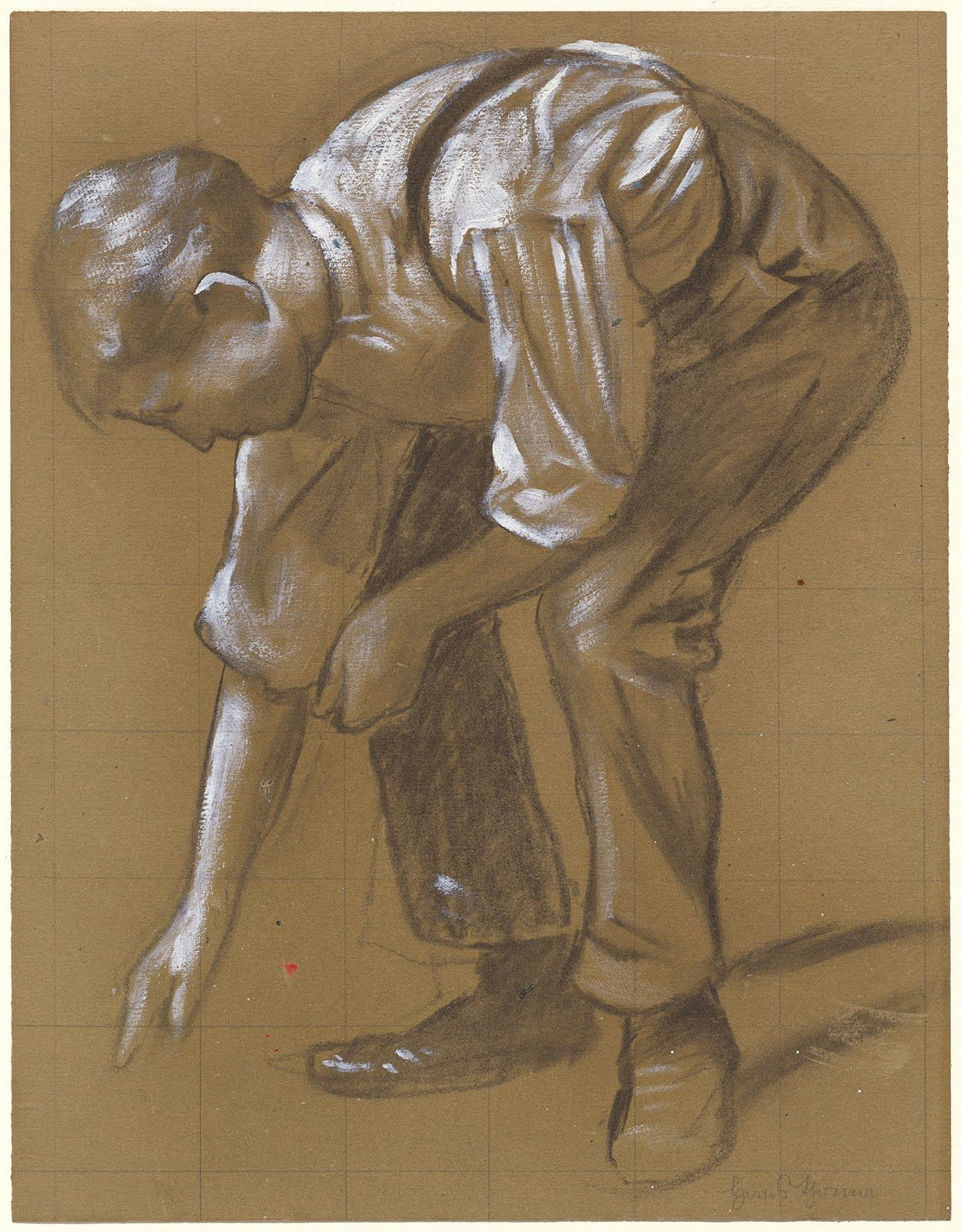 Hans Thomas A Man Bending Over 1886 Drawings Drawing Artist