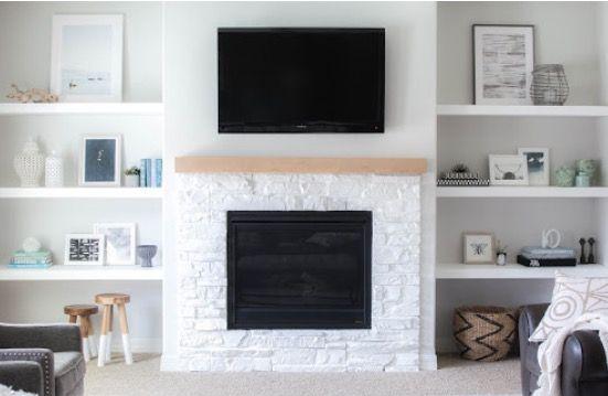Tv Setup Floating Shelves Living Room Fireplace Shelves