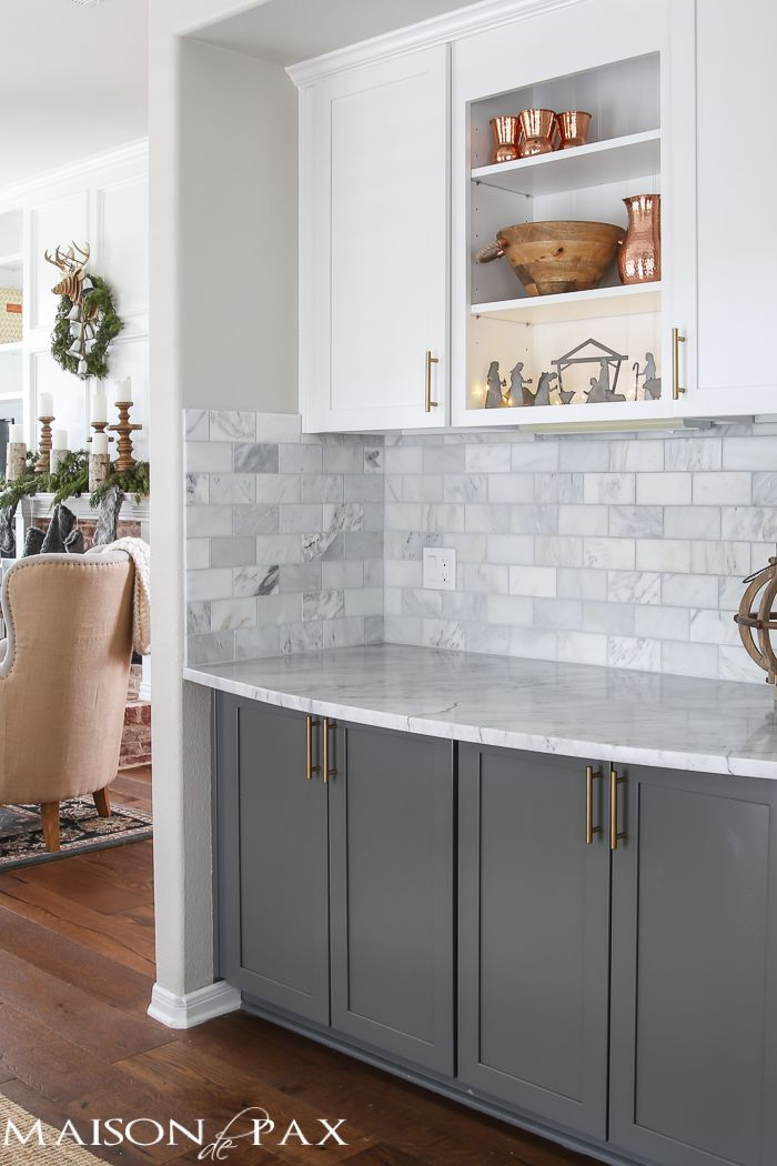 Attractive Christmas Kitchen | Marble subway tiles, Subway tile backsplash  BG96