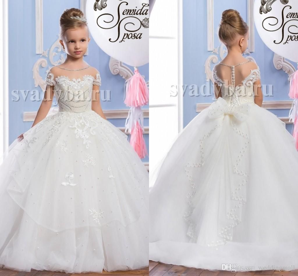 Pearls lace sheer neck tulle arabic flower girl dresses vintage