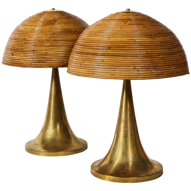 Large Gabriella Crespi Style Bamboo Pair Of Table Lamps With Brass Bases For Sale At 1stdibs Table Lamp Base Large Table Lamps Elegant Table Lamp
