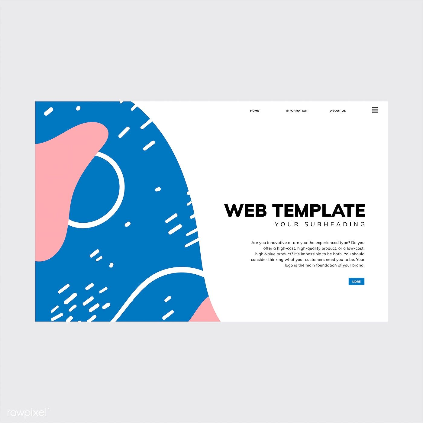 Colorful Geometric Memphis Style Web Template Free Image By Rawpixel Com Tvzsu Web Template Style Web Free Web Template