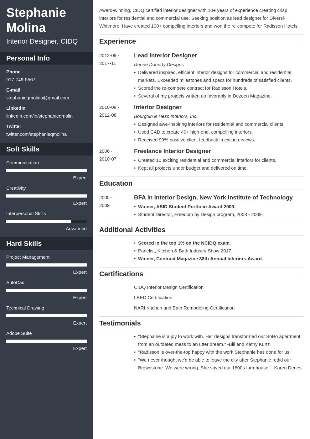 interior design resume example template cascade in 2020