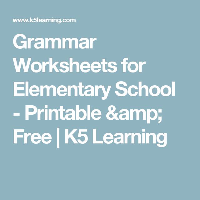 Grammar Worksheets for Elementary School - Printable & Free | K5 ...