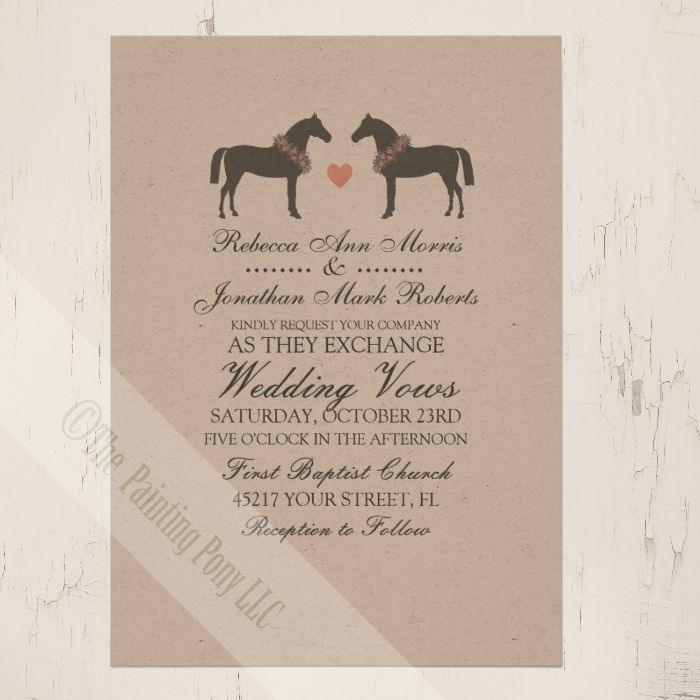Southern Country Equestrian Horse Wedding Invitation Announcements