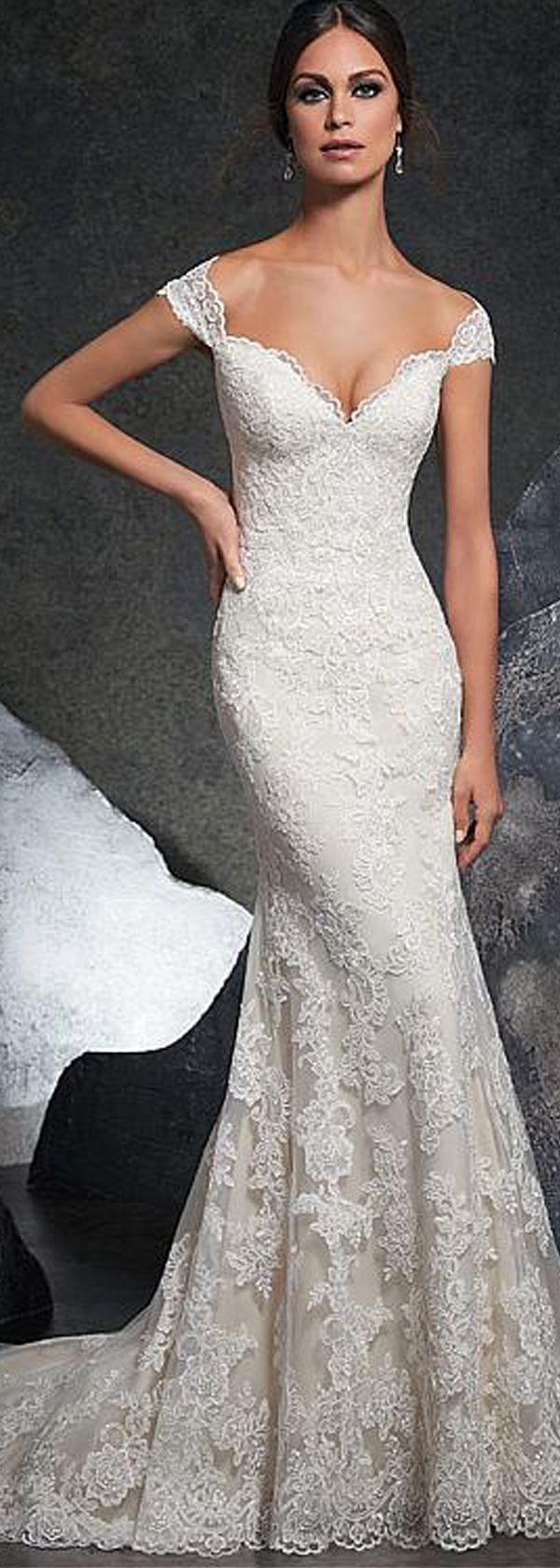 Grey mermaid wedding dress  Mermaid Wedding Dresses  Chic Tulle Offtheshoulder Neckline