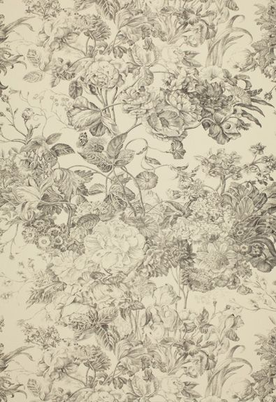 173262 Toile Florissante Pearl Grey by Schumacher ...