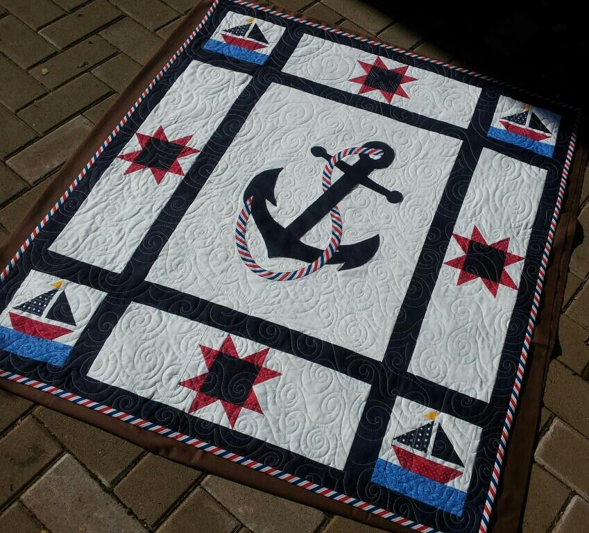 Beautiful!! Ships Ahoy! custom order nautical themed baby quilt completed August 2013