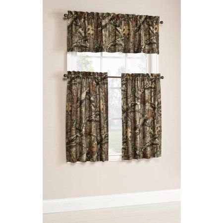 Mossy Oak Break Up Infinity Camouflage Print Window Kitchen Curtains Set Of 2 Or Valance Curtains Walmart Printed Curtains Valance