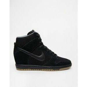 Nike Dunk Sky Hi Essential Black Suede Wedge Trainers