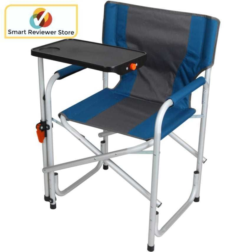 Director Chair With Side Table Folding Padded Back Camping Blue By Ozark Trail Relax In Comfort While Tailg Outdoor Folding Chairs Folding Chair Outdoor Chairs