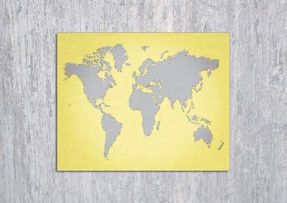 Yellow gray world map instant download by modernprintableart 395 yellow gray world map instant download by modernprintableart 395 gumiabroncs Gallery