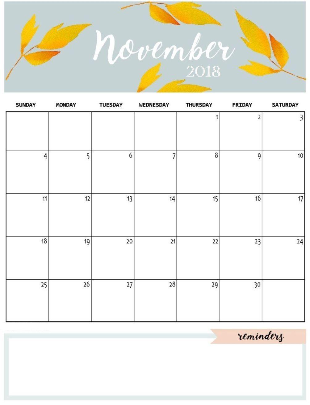 Cute November 2018 Calendar Template Calendars November