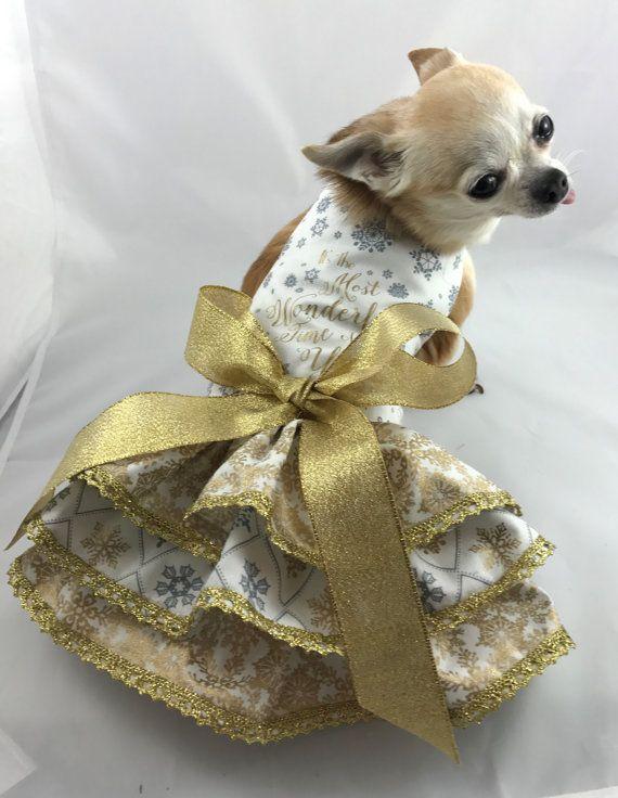 Christmas Elegance Christmas Dog Dress Fancy Dog By Rufflerunway Dog Clothes Christmas Dog Dress Dog Boutique