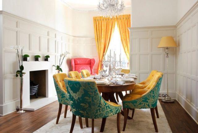 Ideen Für Esszimmer Gestaltung Mit Farbe Gelb Grün Kräftig Vorhänge  Retro Möbel Stil
