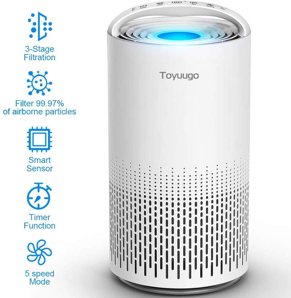toyuugo Air Purifier, Upgraded Double Efficacy True HEPA