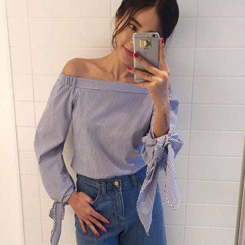 2017 플러스 사이즈 여성 섹시한 블라우스 슬래시 목 오프 어깨 활 긴 소매 캐주얼 셔츠 탑 블루 화이트 스트라이프 파티 Blusas