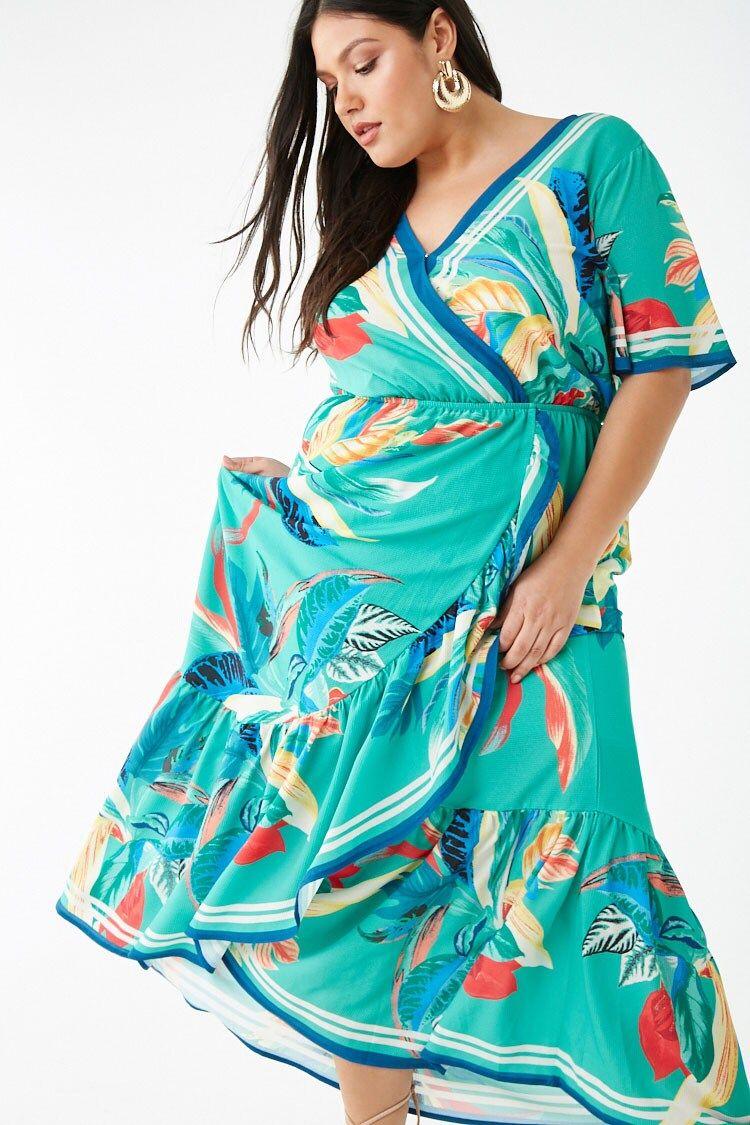 Plus Size Tropical Surplice Maxi Dress Forever 21 Maxi Dress Clothing For Tall Women Women S Evening Dresses [ 1125 x 750 Pixel ]