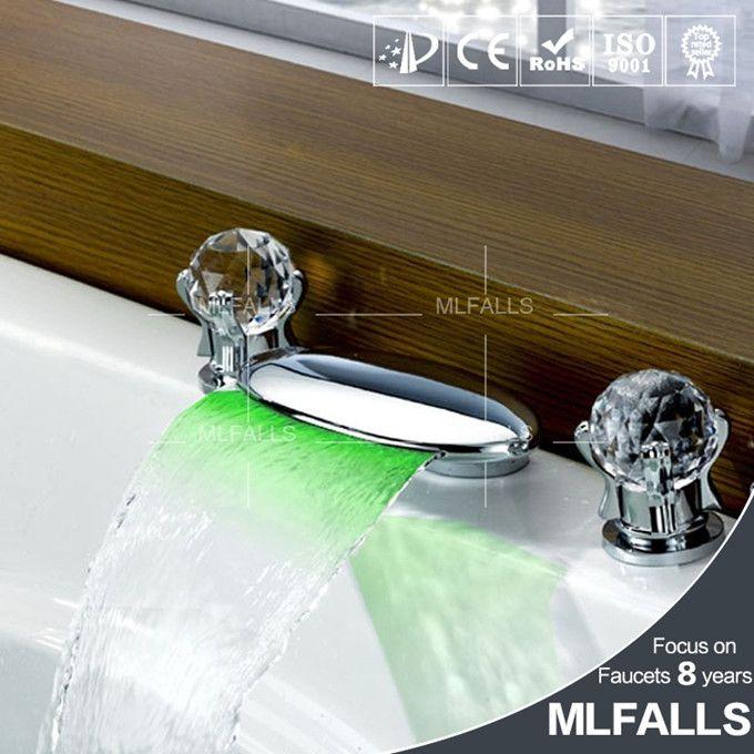 Bathroom Waterfall Widespread Contemporary Chrome Finish Bathroom ...