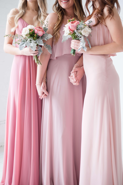 aca18b52 Shades of Pink, long bridesmaid dresses by Love Tanya. | Blush-ing ...