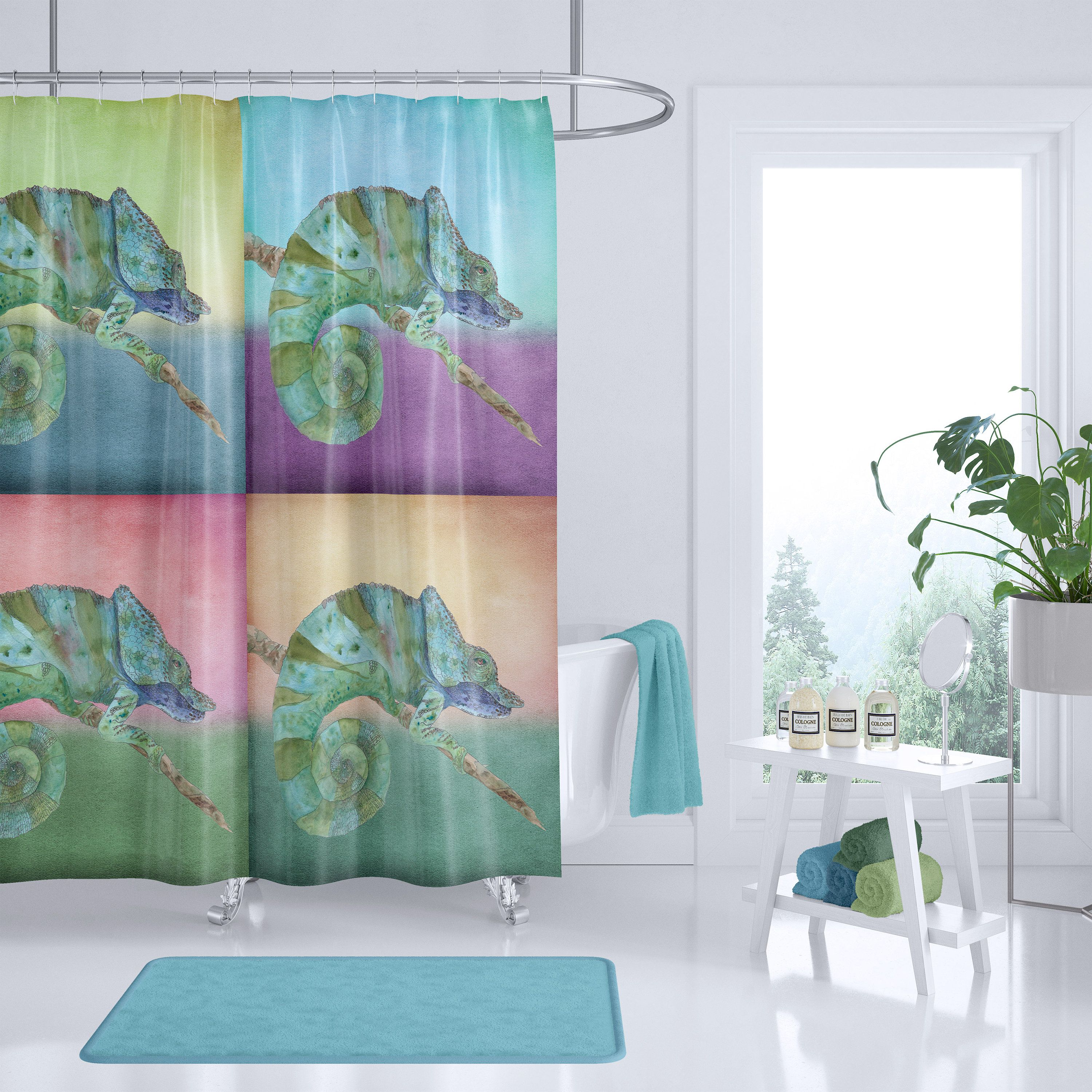 Chameleon Shower Curtain 4 Coloful Chameleons Illustration Green Teal And Peach Purple Lizard Reptile Zoo Curtains Printed Shower Curtain Shower Curtain