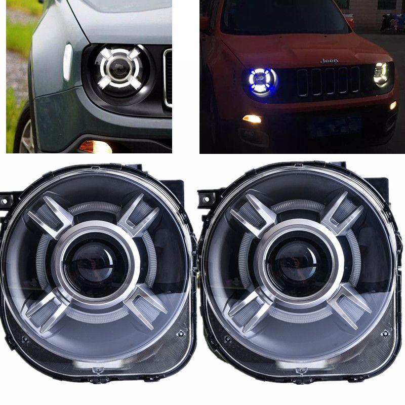 Led Hid Headlight Projector With Drl Bi Xenon Lens For 2015 2016 2017 Jeep Renegade Xenon Led Light Headlight Headlamp Dzhip Avtomobil Fary