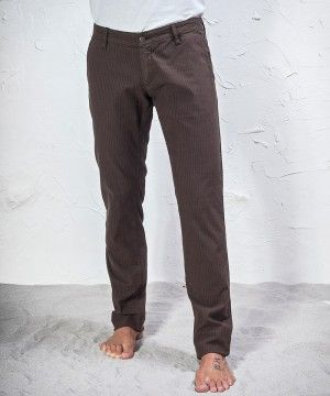 #45parallelo: brown striped #trousers made in stretch #fabric, dyed for a #worn effect, 98% Cotton and 2% Elastane.