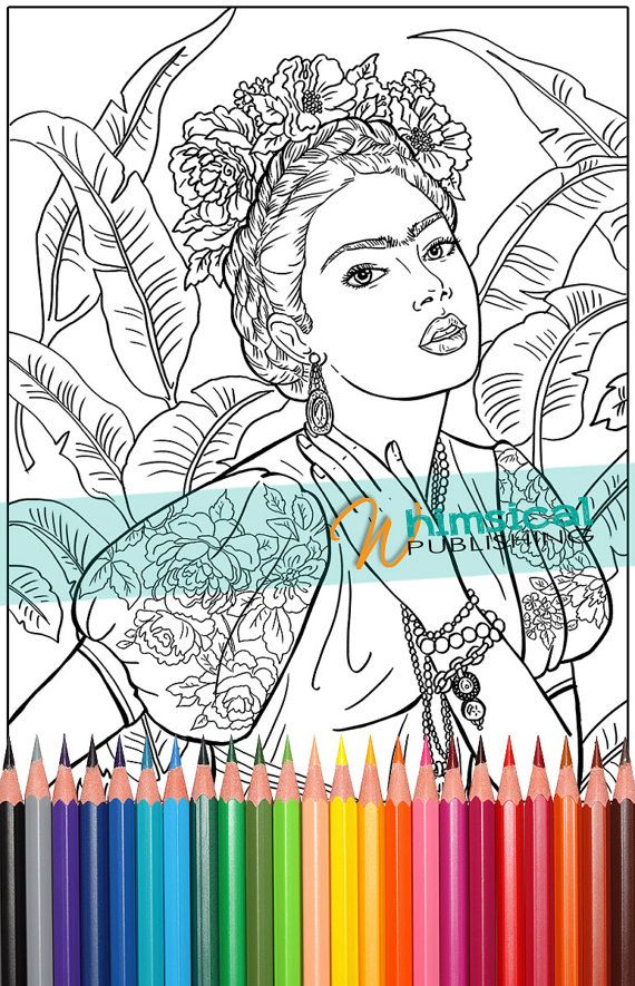 Frida Kahlo coloring page beautiful women period costumes grown