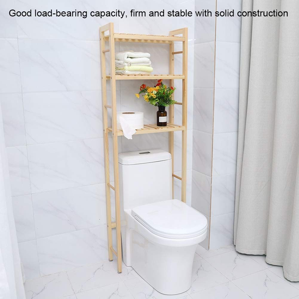 Cocoarm Wooden Bathroom Storage Shelf Over Toilet Self Standing Space Saving Toilet Storage Rack Compact In 2020 Toilet Storage Shelves Over Toilet Space Saving Toilet