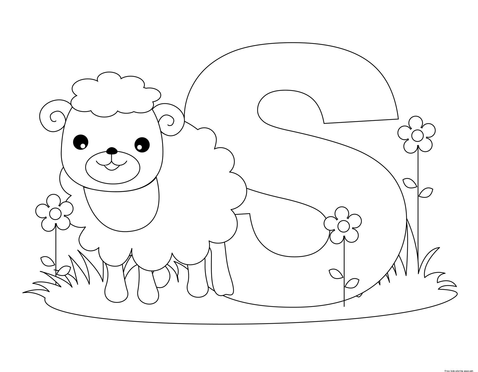 Printable Animal Alphabet Letter S Is For Sheep For Kids