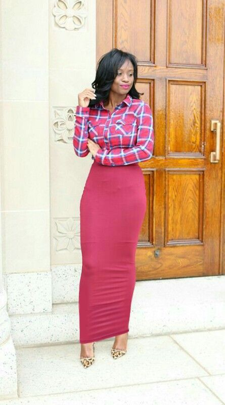 39bfd520e907 Plaid shirt with a long raspberry red tube skirt