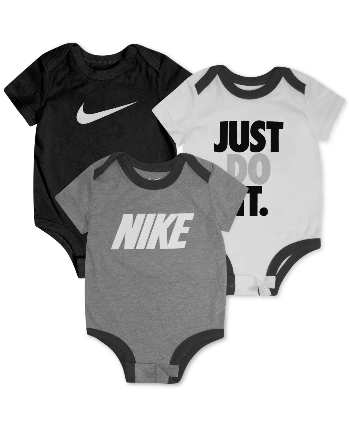 Nike Baby Boys 3 Pk Short Sleeve Logo Bodysuits Set Gray Baby Boy Nike Nike Baby Clothes Baby Nike