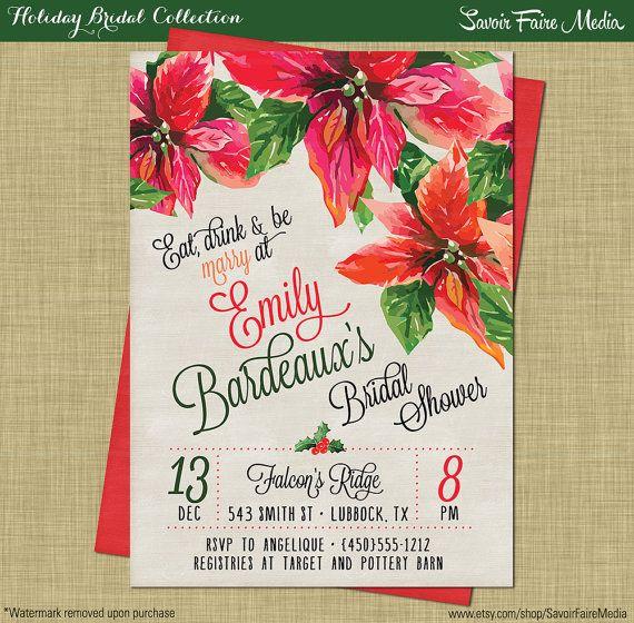 Christmas Bridal Shower Invitations