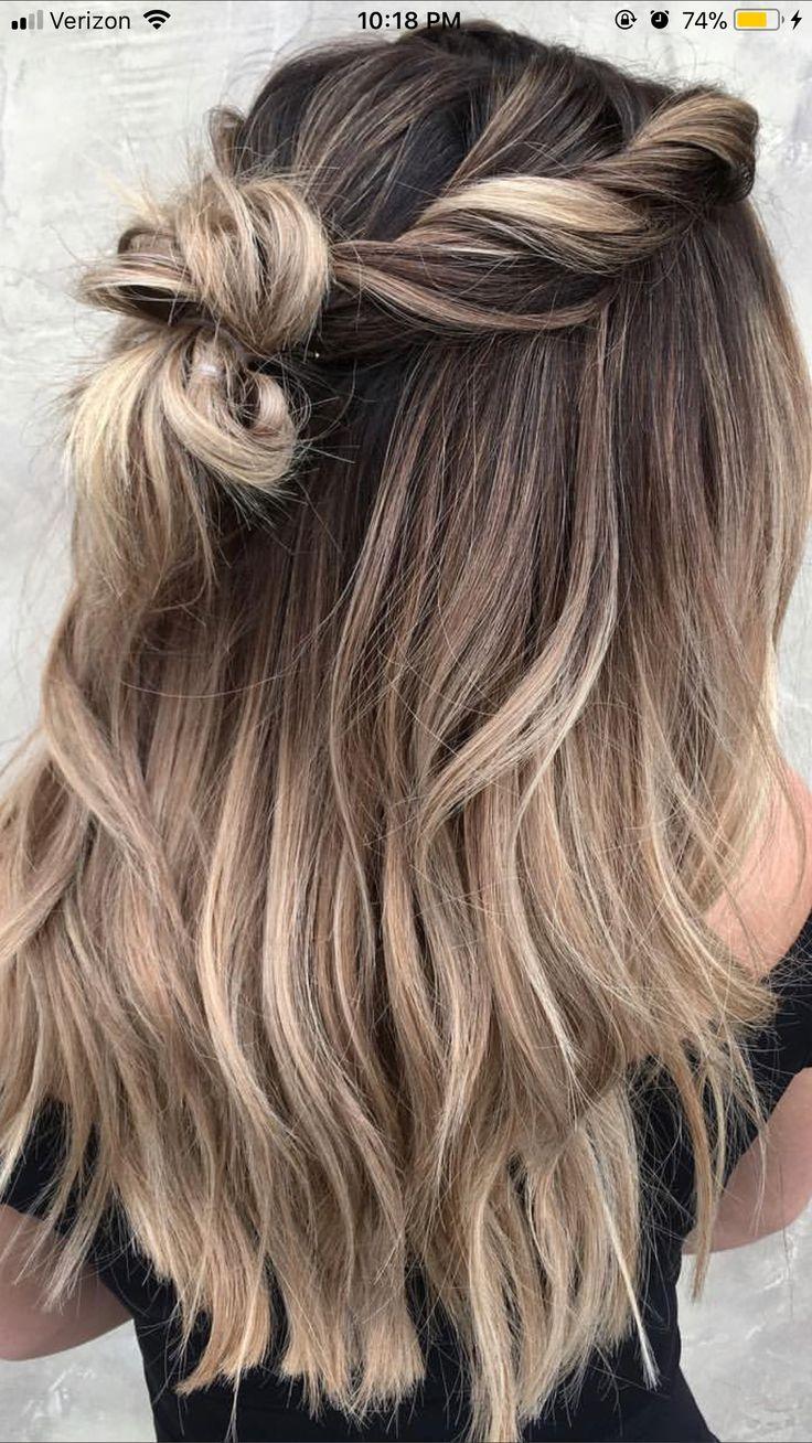 Pinterest Asha740 Asha740 Halboffen Pinterest Mittellange Haare Frisuren Einfach Haar Styling Haare