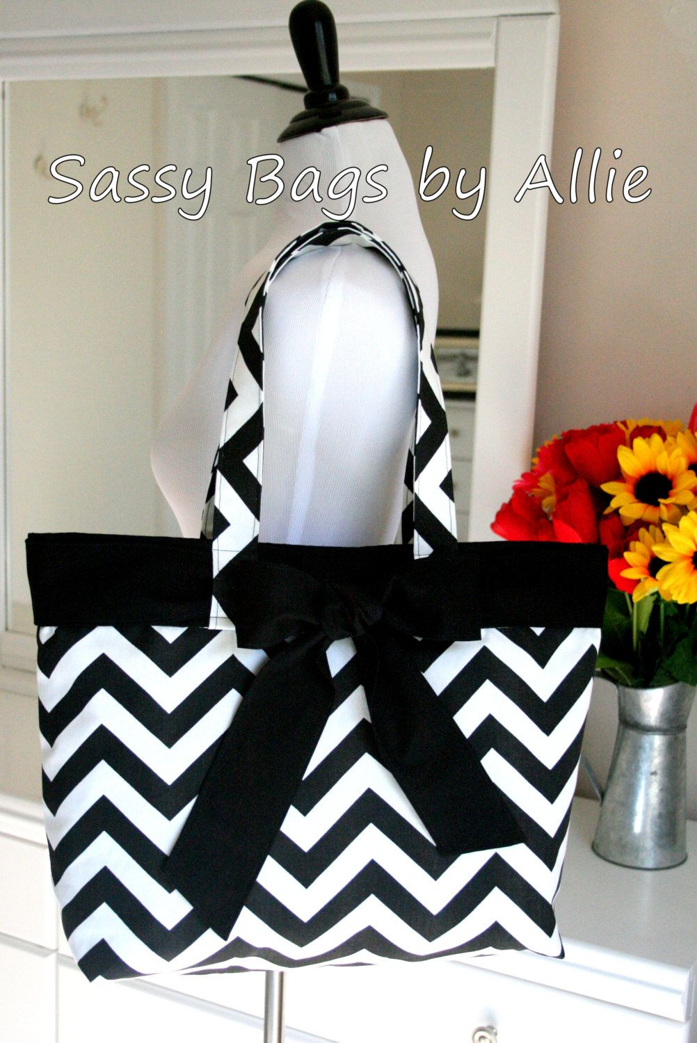 Black and White Chevron Purse with BowLarge by allisonblaylock, $45.00