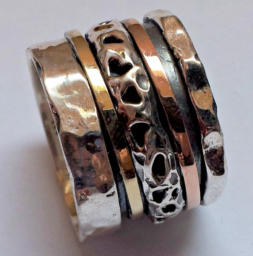 Artistic Spinning Ring Silver 9 Ct Gold Floral Spinner Meditation Rings Israeli Jewelry Silver Rings Rings