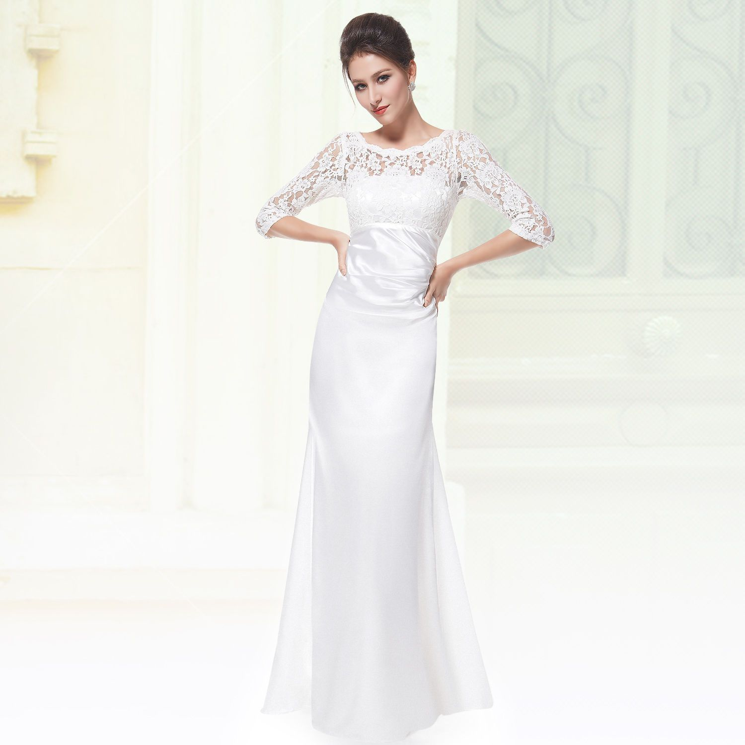 Ever Pretty 3 4 Sleeve Lace Long White Evening Wedding Dresses 09882 ...