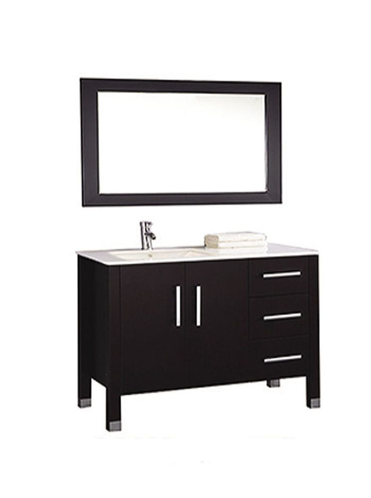 40 Inch Single Sink Bathroom Vanity Sink Left Side Free Mirror