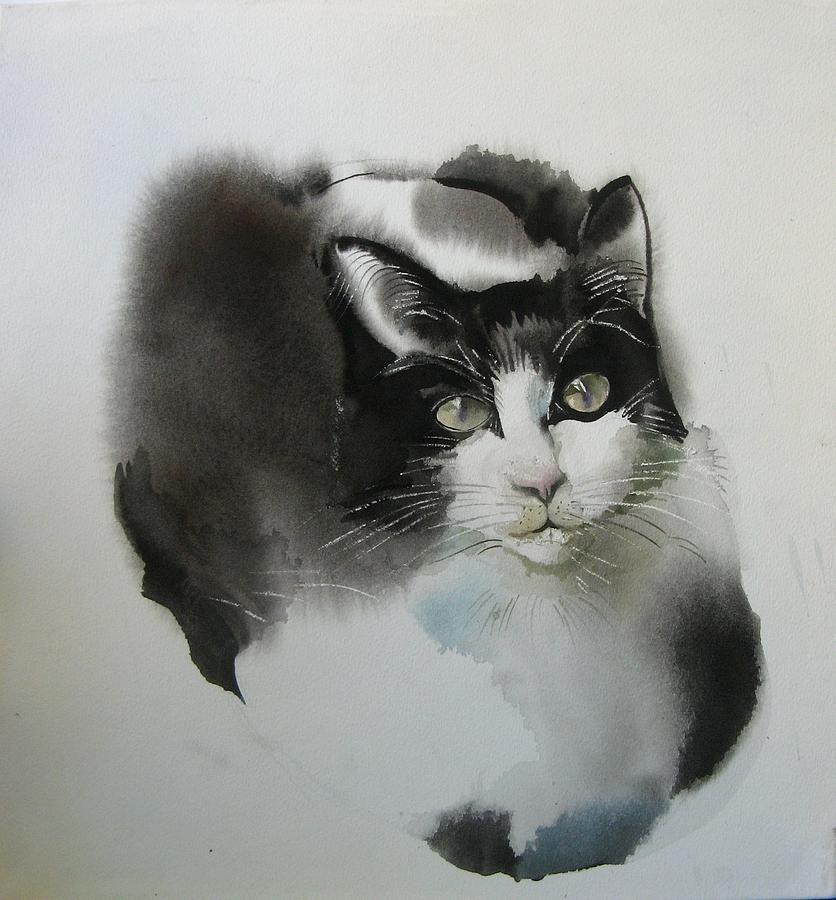 Small Oil Painting Print Cat Kitten Kitty Black White Tuxedo 4x6