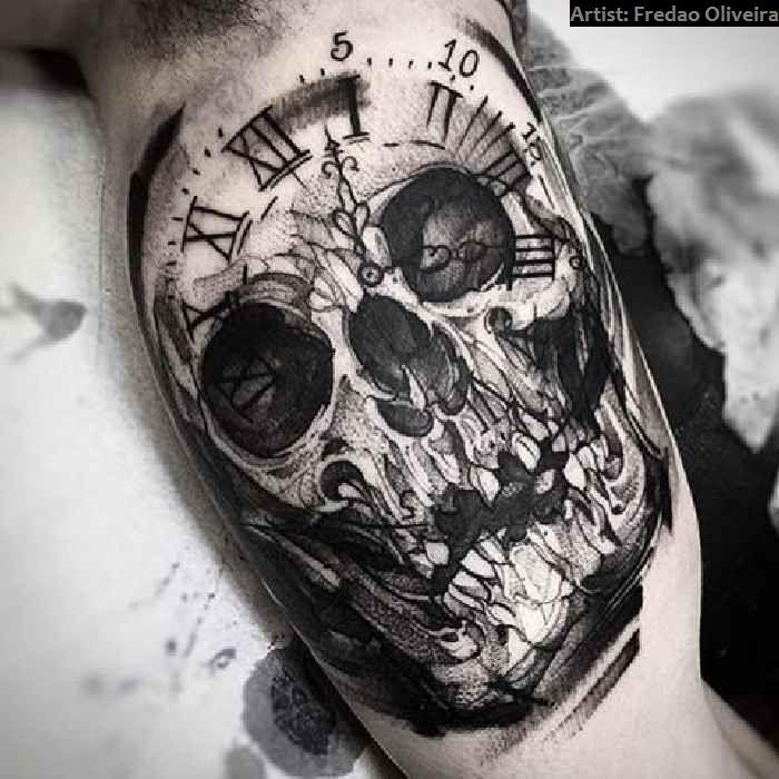 Taschenuhr mit totenkopf tattoo  40 Crazy Skull-Tattoos | Tattoo ideen, Totenkopf und Tätowierungen