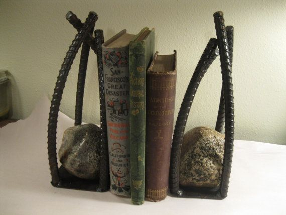 Metal Book EndsHandcrafted Welded Rebar by SwedeSteelWorks on Etsy, $40.00