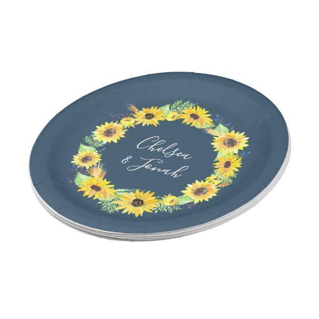 Photo of Flowerfields | Sunflower Wreath Wedding Paper Plate | Zazzle.com