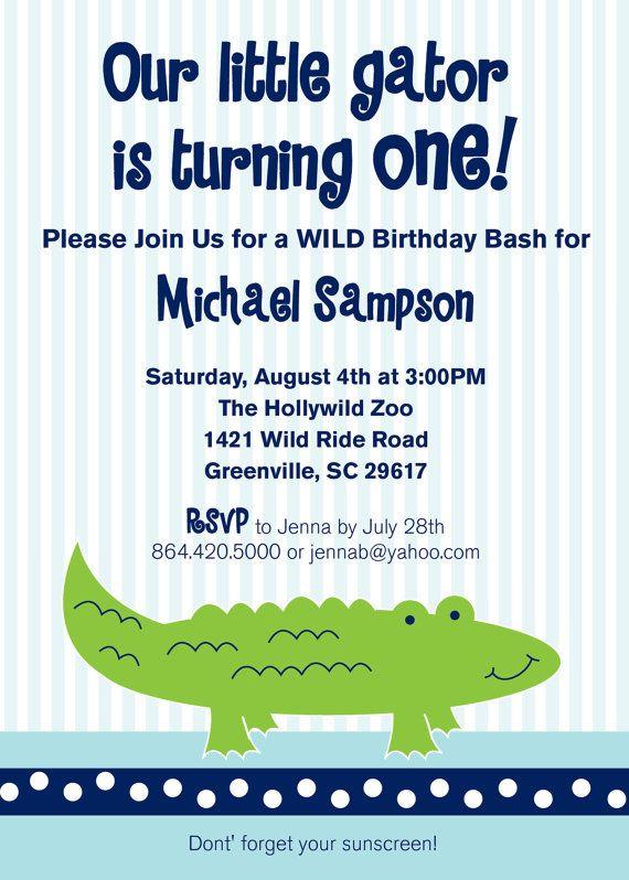 Alligator Gator Crocodile Birthday Party Invitation Printable
