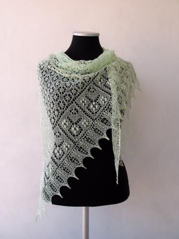SALE Light green summer lace shawl, merinosilk shawl by LaceForYou for $99.00