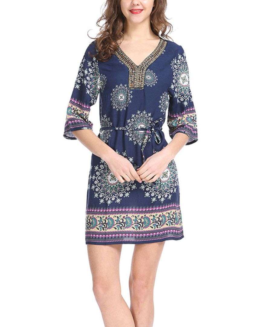 Look at this ace fashions navy scarf print belted shift dress on