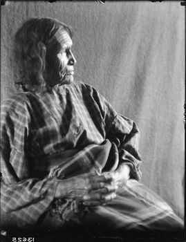 Description:Studio (?) profile portrait of an unidentified woman, wearing a long cotton-print dress, with a shawl or blanket around her waist and lower body. She is seated in a shelter (?) or in front of a fabric backdrop Culture/People:Northern Tsitsistas/Suhtai (Cheyenne) Date created:1904